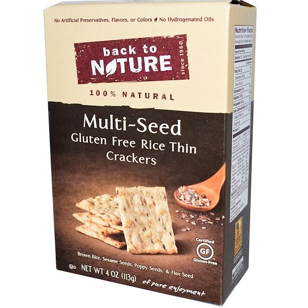 Back to Nature, Тонкие рисовые крекеры с различными злаками, без глютена, 4 унции (113 г) (Discontinued Item)