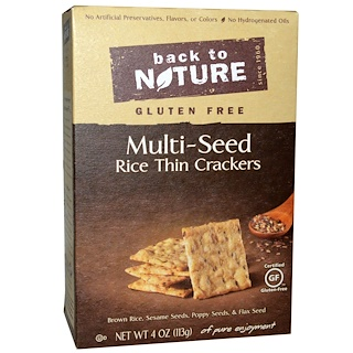 Back to Nature, Rice Thin Crackers, Gluten Free, Multi-Seed, 4 oz (113 g)