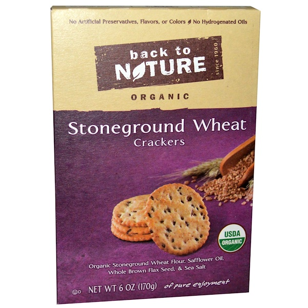 Back to Nature, Crackers, Stoneground Wheat, Organic, 6 oz (170 g)