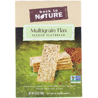 Back to Nature, マルチグレインフラックスシード入りフラットブレッド・クラッカー, 5.5 オンス (156 g)