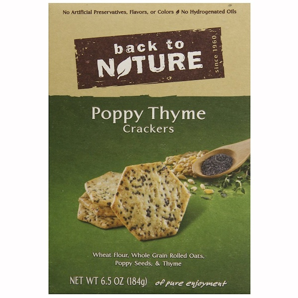 Back to Nature, Poppy Thyme Crackers, 6.5 oz (184 g) (Discontinued Item)