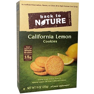 Back to Nature, Cookies, California Lemon, 9 oz (255 g)