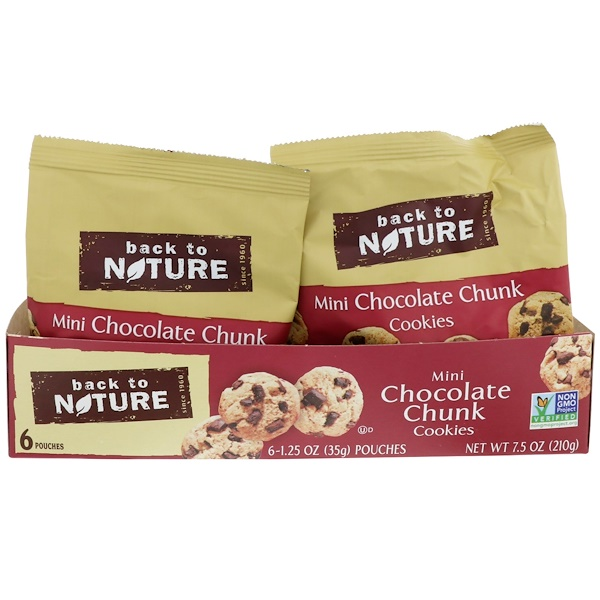 Back to Nature, Cookies,  Mini Chocolate Chunk, 6 Pouches, 1、25 oz (35 g) Each