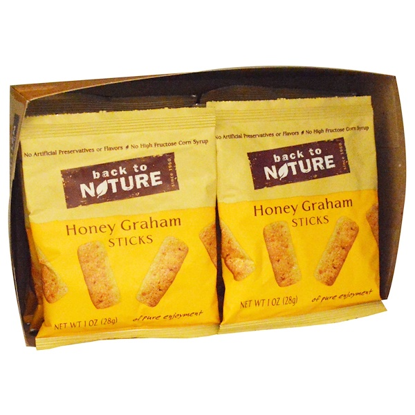 Back to Nature, Sticks, Honey Graham, 8 Pouches, 1 oz (28 g) Each (Discontinued Item)