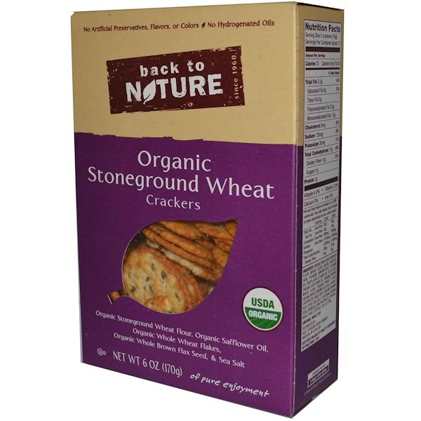 Back to Nature, Organic Stoneground Wheat Crackers, 6 oz (170 g) (Discontinued Item)