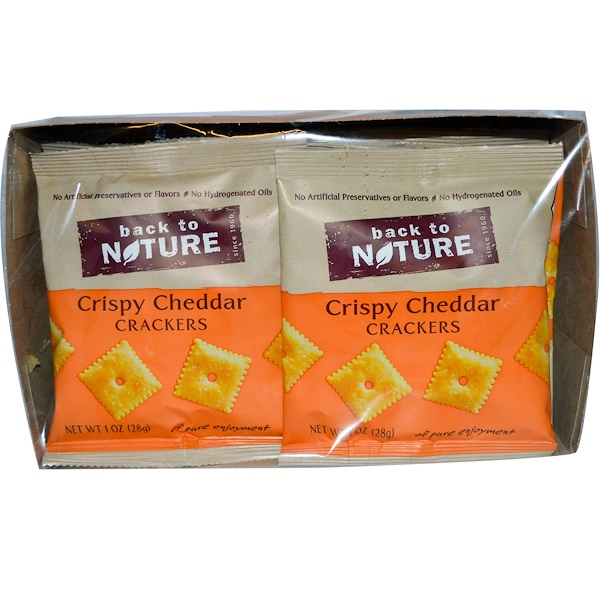 Back to Nature, Crispy Cheddars Crackers, 8 Pouches, 1 oz (28 g) Each (Discontinued Item)