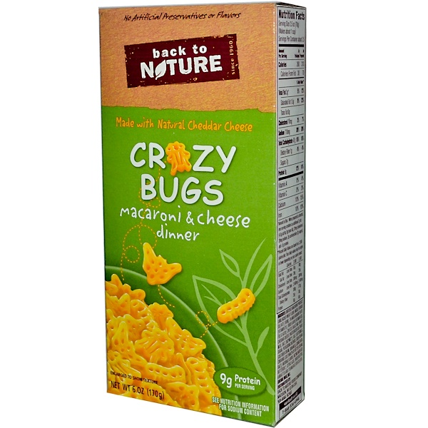 Back to Nature, Crazy Bugs, Macaroni & Cheese Dinner, 6 oz (170 g) (Discontinued Item)