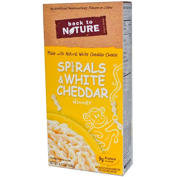 Back to Nature, Spirals & White Cheddar Dinner, 6.5 oz (184 g) (Discontinued Item)