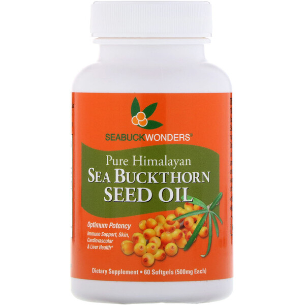 Sea Buckthorn Seed Oil, 500 mg, 60 Softgels