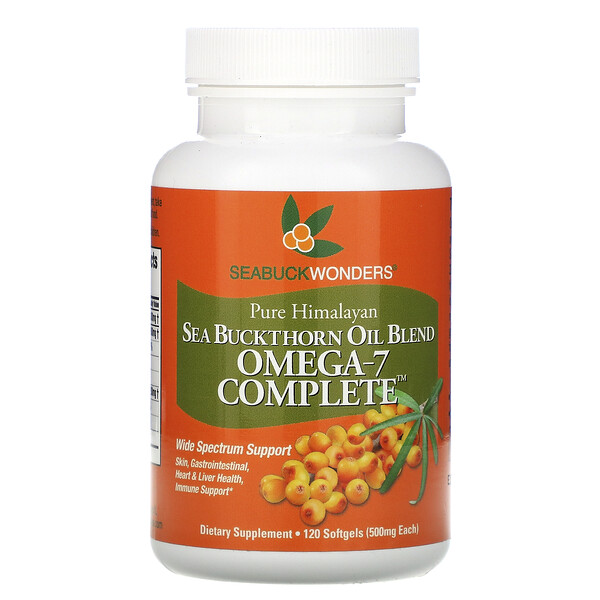 Sea Buckthorn Oil Blend, Omega-7 Complete, 500 mg, 120 Softgels