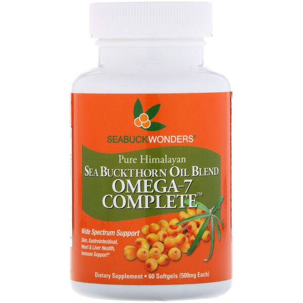Omega-7 Complete, Sea Buckthorn Oil Blend, 500 mg, 60 Softgels