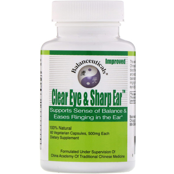 Balanceuticals, Clear Eye & Sharp Ear, 500 mg, 60 Vegetarian Capsules
