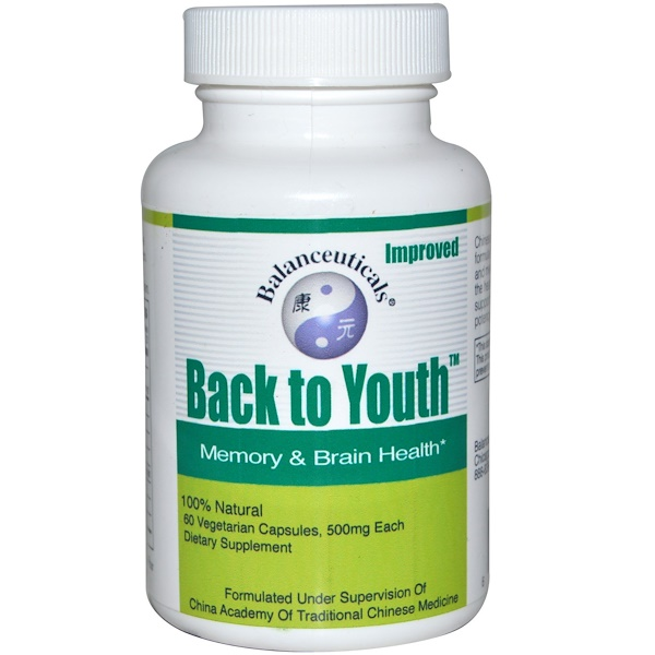 Balanceuticals, Back to Youth, Memory & Brain Health, 500 mg, 60 Veggie Caps (Discontinued Item)
