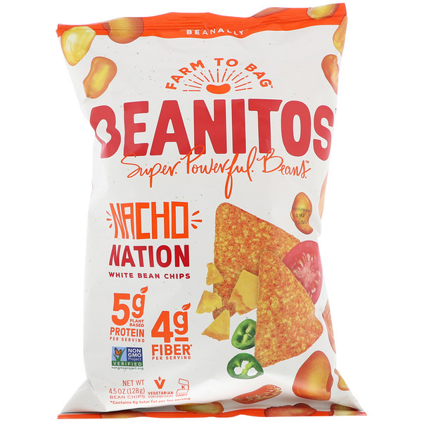 Beanitos, White Bean Chips, Nacho Nation, 4.5 oz (128 g)