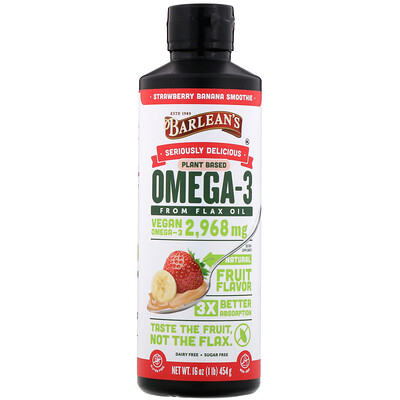 Seriously Delicious, Omega-3 from Flax Oil, Strawberry Banana Smoothie, 16 oz (454 g)  - купить со скидкой