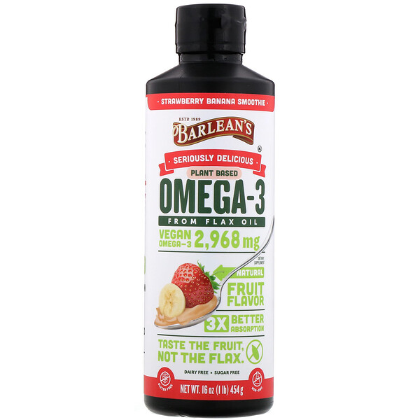 Seriously Delicious, Omega-3 from Flax Oil, Strawberry Banana Smoothie, 16 oz (454 g)