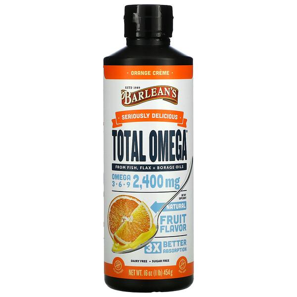 Total Omega 3 · 6 · 9, Orange Creme, 2,400 mg, 16 oz (454 g)