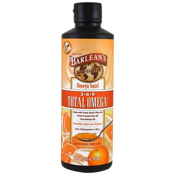 Barlean's, Total Omega 3·6·9 Supplement, Orange Cream, 16 oz (454 g) (Discontinued Item)