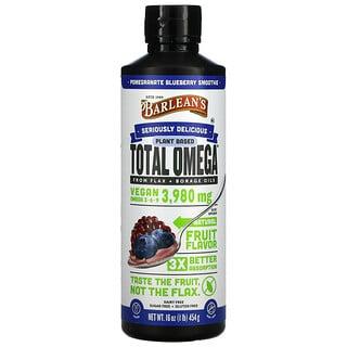 Barlean's, Plant Based Total Omega 3 · 6 · 9, Pomegranate Blueberry Smoothie, 3,980 mg, 16 oz (454 g)
