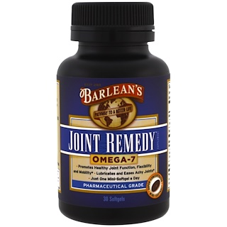 Barlean's, Joint Remedy, Omega-7, 30 Softgels