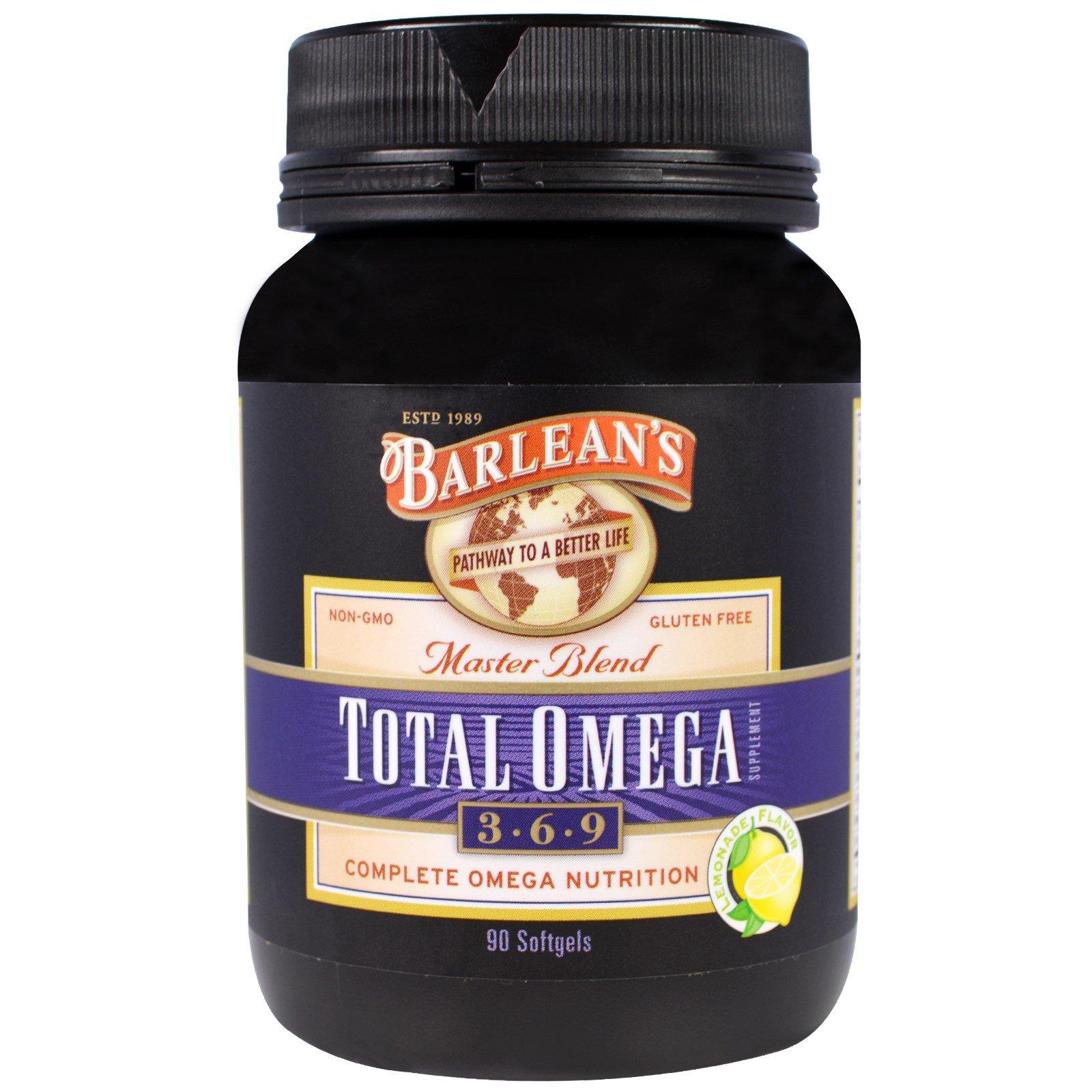 Barlean's, Тотал Омега 3 · 6 · 9, Master Blend, со вкусом лимонада, 90 капсул