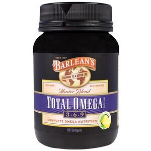 Барлинс, Total Omega 3 · 6 · 9, Master Blend, Lemonade Flavor, 90 Softgels отзывы