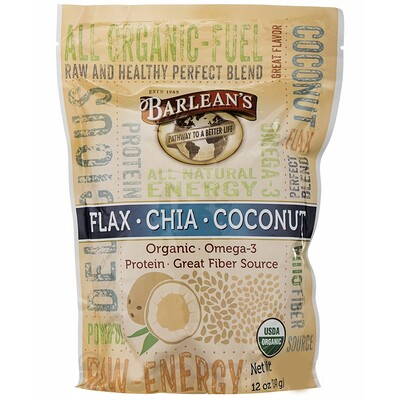 Raw Energy Flax-Chia-Coconut blend, 12oz pouch