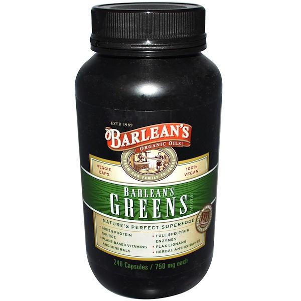 Barlean's, Greens, 750 mg, 240 Veggie Caps (Discontinued Item)