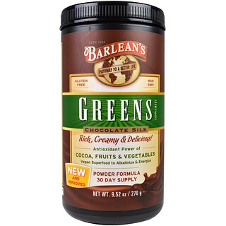 Barlean's, Greens Supplement, Powder Formula, Chocolate Silk, 9.52 oz (270 g)