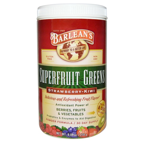 Barlean's, 超級水果綠色補充,粉末配方,草莓-獼猴桃,9、52盎司(270 克)
