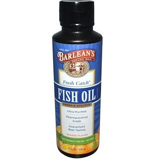 Barlean's, Fresh Catch Fish Oil, Omega-3 EPA/DHA, Orange Flavor, 8 fl oz (236 ml)