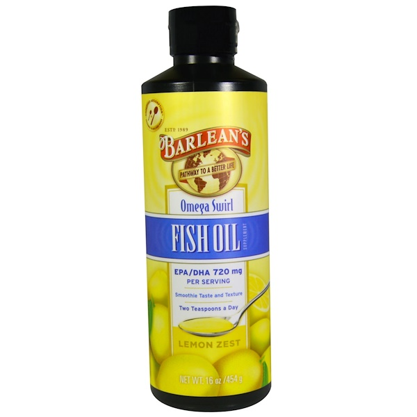 Barlean's, Omega Swirl, Fish Oil, Lemon Zest, 16 oz (454 g)