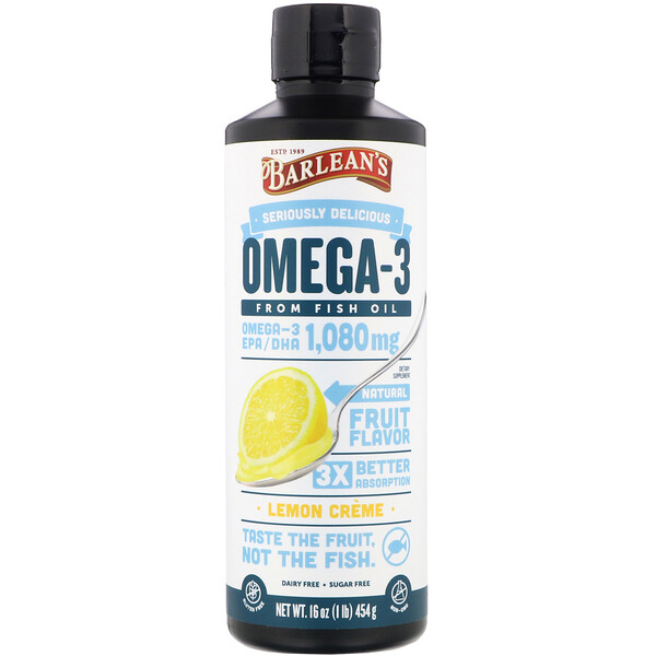 Barlean's, Omega-3, Fish Oil, Lemon Creme, 16 oz (454 g)