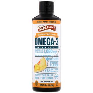 Barlean's, 極其美味的歐米伽-3 魚油,芒果桃奶昔,1080 毫克,16 盎司(454 克)