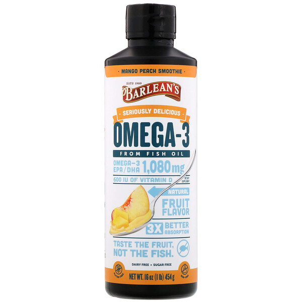 Barlean's, Seriously Delicious, Omega-3 Fish Oil, Mango Peach Smoothie, 16 oz (454 g)