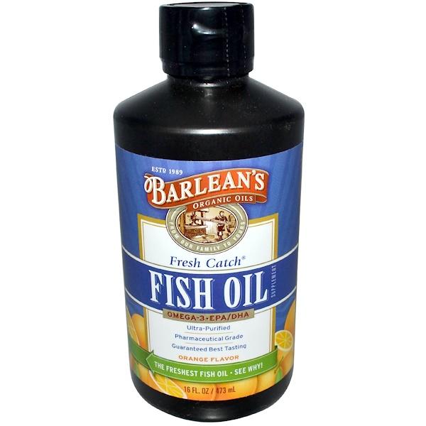 Barlean's, Fresh Catch Fish Oil, Omega-3 EPA/DHA, Orange Flavor, 16 fl oz (473 ml) (Discontinued Item)