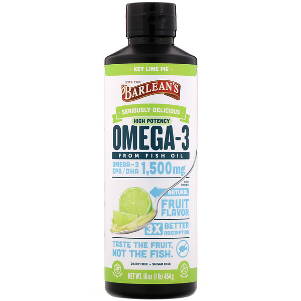 Omega-3 Fish Oil,  Key Lime Pie, 1,500 mg, 16 oz (454 g)