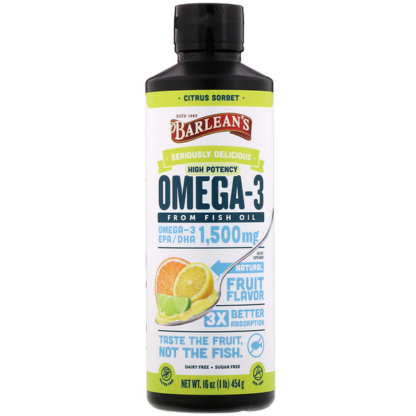Seriously Delicious, Omega-3 Fish Oil, Citrus Sorbet, 16 oz (454 g)