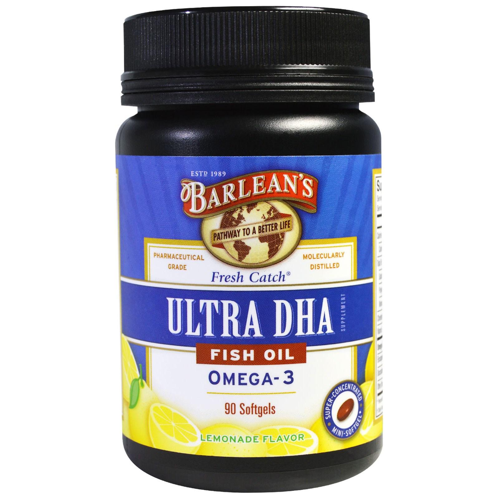 Barlean's, Ultra DHA, рыбий жир, Омега-3, со вкусом лимонада, 90 мягких капсул