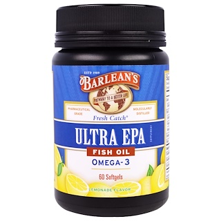 Barlean's, Ultra EPA, Fish Oil Omega-3, Lemonade Flavor, 60 Softgels