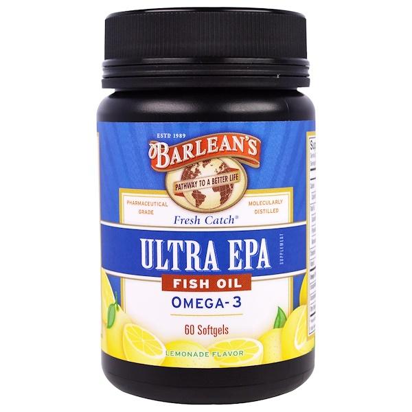 Barlean's, Ultra EPA, Fish Oil Omega-3, Lemonade Flavor, 60 Softgels (Discontinued Item)