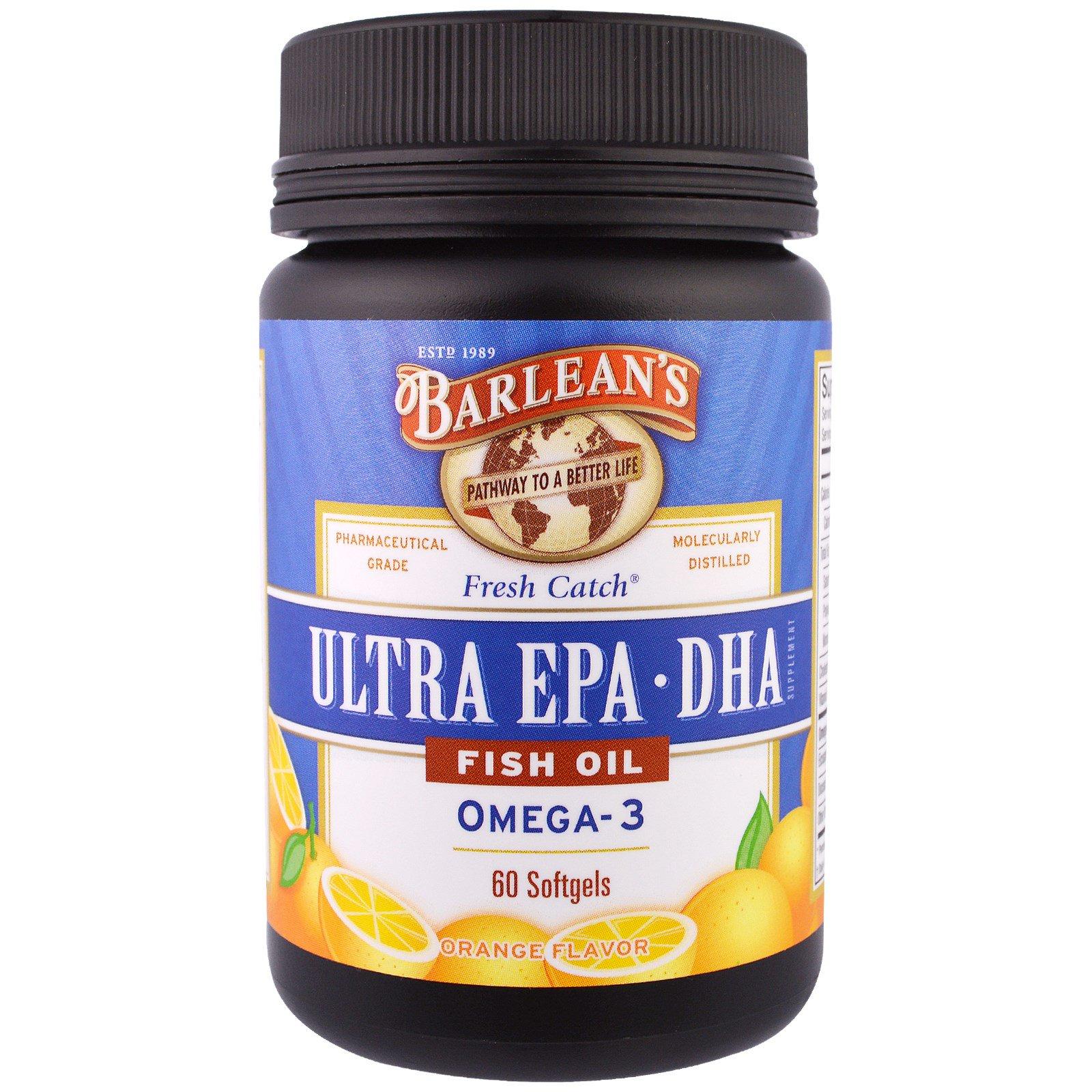 Barlean's, Рыбий жир Fresh Catch, Ультра EPA·DHA, апельсиновый аромат, 60 капсул