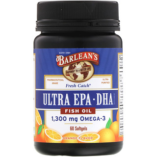 Barlean's, Fresh Catch Fish Oil, Ultra EPA·DHA, Orange Flavor, 60 Softgels