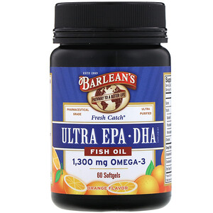 Барлинс, Fresh Catch Fish Oil, Omega-3, Ultra EPA/DHA, Orange Flavor, 60 Softgels отзывы