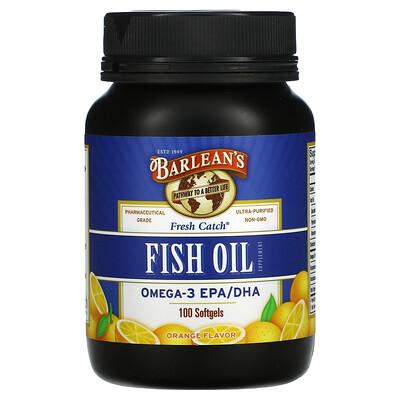 Купить Barlean's Свежий улов, пищевая добавка с рыбим жиром, Омега-3 EPA / DHA, апельсиновый аромат, 100 мягких капсул