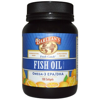 Barlean's, Fresh Catch, Fish Oil Supplement, Omega-3 EPA/DHA, Orange Flavor, 100 Softgels