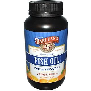 Barlean's, 新鮮な捕獲、魚油サプリメント、オメガ3、EPA/ DHA、オレンジフレーバー、1000mg、250ソフトジェル