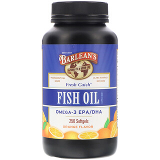 Barlean's, Fresh Catch, Fish Oil Supplement, Omega-3 EPA/DHA, Orange Flavor, 250 Softgels