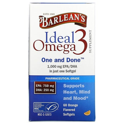 Barlean's Ideal Omega 3, Orange, 1, 000 mg EPA/DHA, 60 Softgels  - купить со скидкой