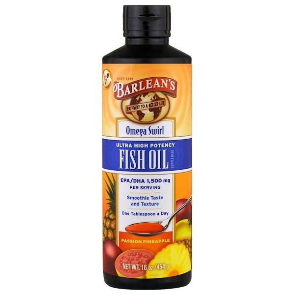 Barlean's, Omega Swirl, Ultra High Potency Fish Oil, Passion Pineapple , 16 oz (454 g)